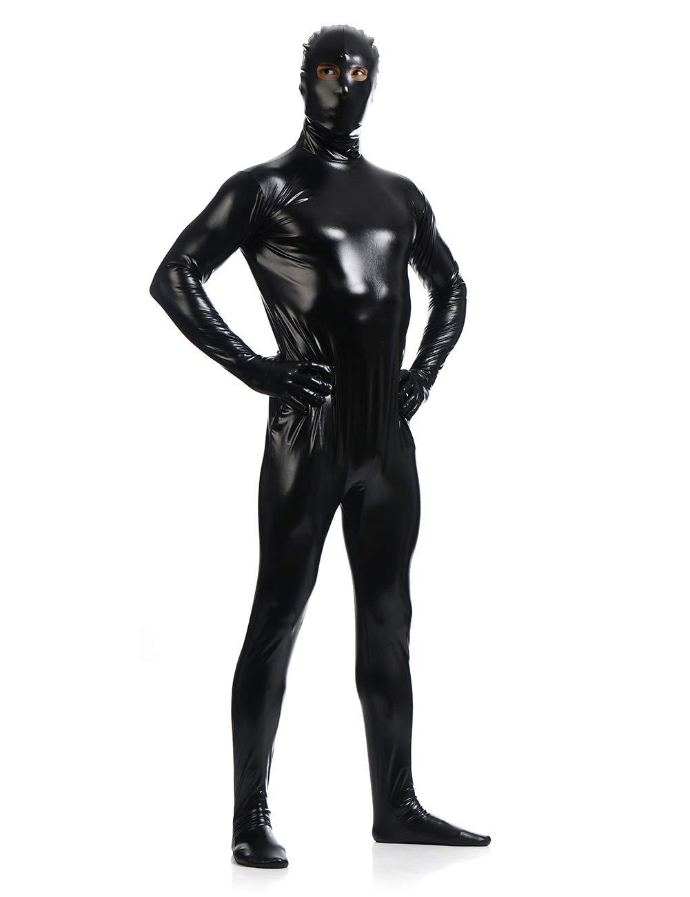 Unisex Metallic Zentai Suit Open Eyes Full Body Unitard Cosplay Suits Second Skin Bodysuits Super Suit Halloween Costume