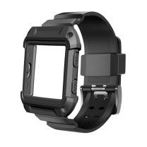 Bands with Case Compatible for Fitbit Blaze, ISENXI Silicone Sports Replacement Strap Band and Rugged Pro Resistant Protective Cover Accessory Compatible with Fitbit Blaze Smart Fitness Watch (Black)