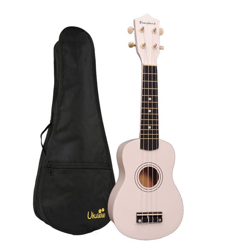 Soprano Ukulele Rosefinch Wooden Uke Hawaii Guitar 21 inch Basswood Ukulele with Bag for Beginner Kids Students(White)