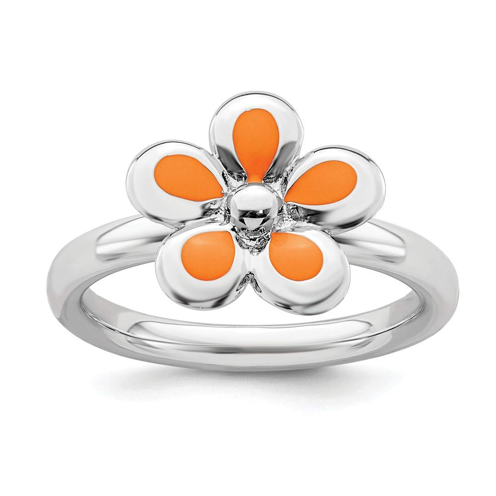 925 Sterling Silver Orange Enameled Flower Band Ring Stackable Fine Jewelry For Women Gift Set
