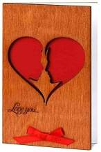 Real Wood Greeting Card Love You He and She Soulmates as Big Red Heart Wooden Gift Idea for Happy Birthday Engagement Wedding Day Fifth 5th Dating Anniversary for Her Him Couples Women Husband Wife e