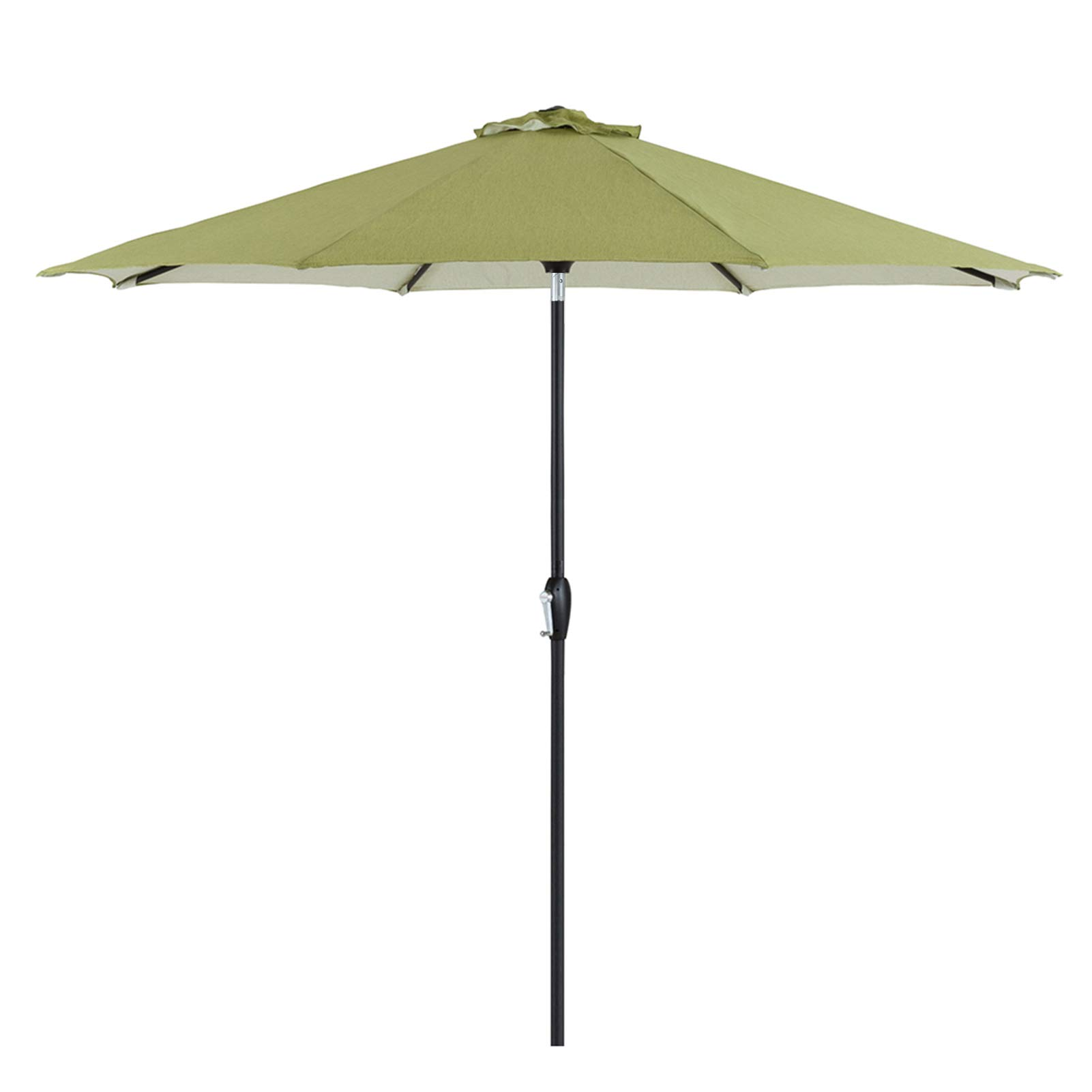 Tempera 9 ft Auto-Tilt Patio Umbrella Outdoor Table Umbrella, 8 Steel Ribs, Grass