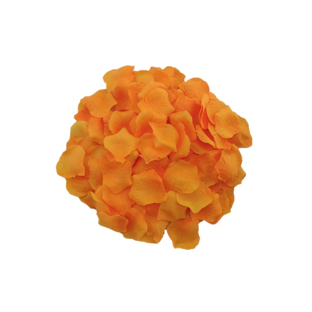 MXXGMYJ 2000pcs Orange Rose Petals for Weddings Fake Silver Rose Petals Dried Rose Wedding Bouquet Artificial Flowers Wedding Party Decoration Table Confetti