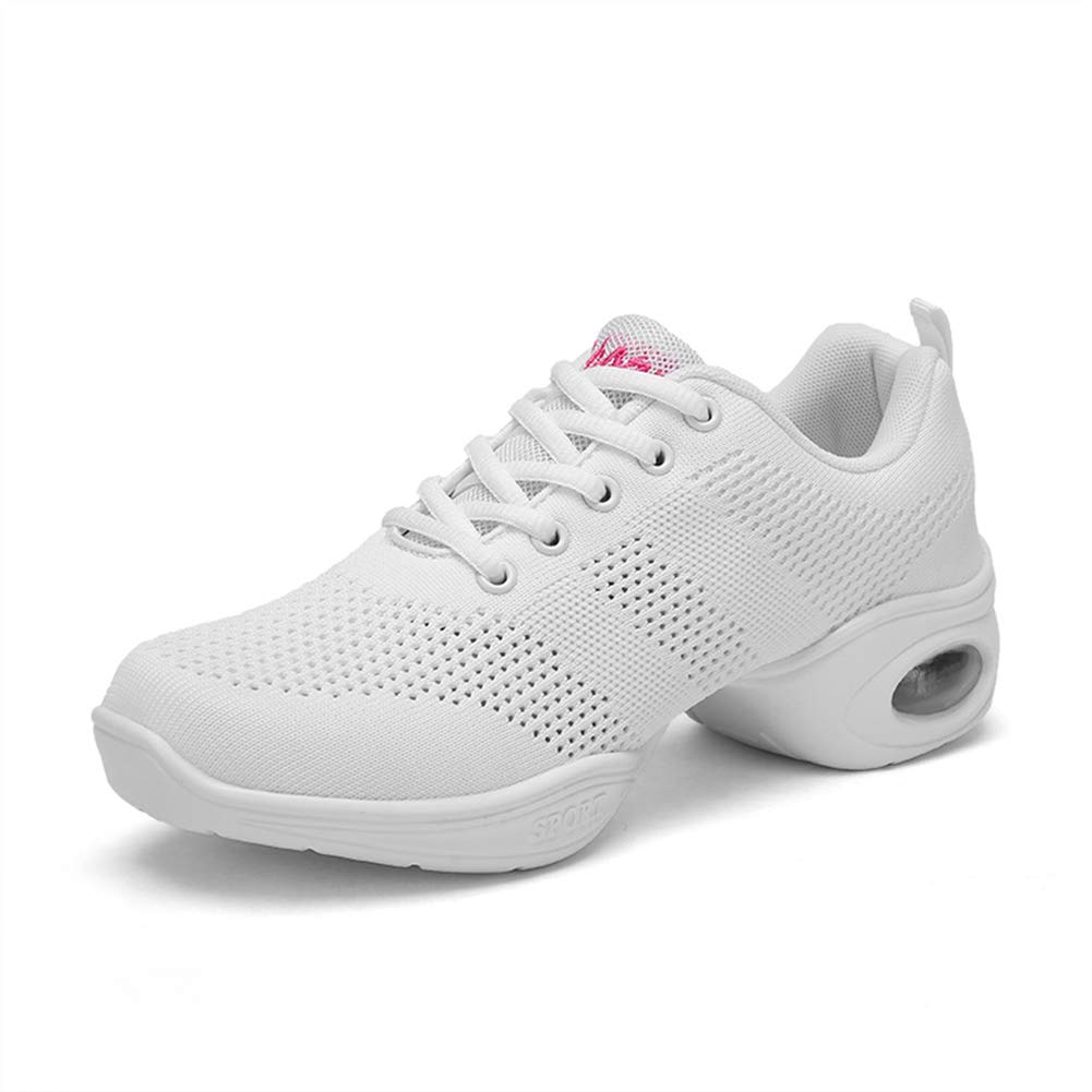 RINVEKA Women's Jazz Shoes Lace-up Sneakers - Breathable Air Cushion Lady Split Sole Athletic Walking Dance Shoes Platform