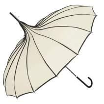 TopTie Peak Shaped Umbrella Wedding Parasol Bridal Umbrella Windproof Waterproof-Cream