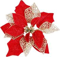 MSOLA (Pack of 12 Christmas Tree Flower Glitter Poinsettia Ornaments Decorations (Red)