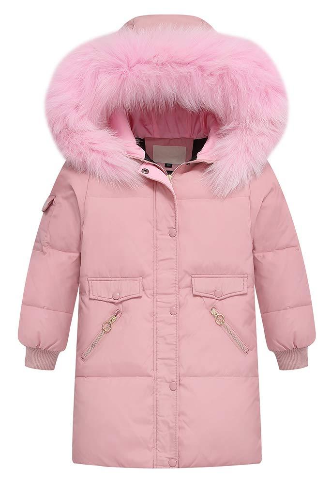 BISHE Big Girls' Hood Down Coat Winter Parka with Faux Fur