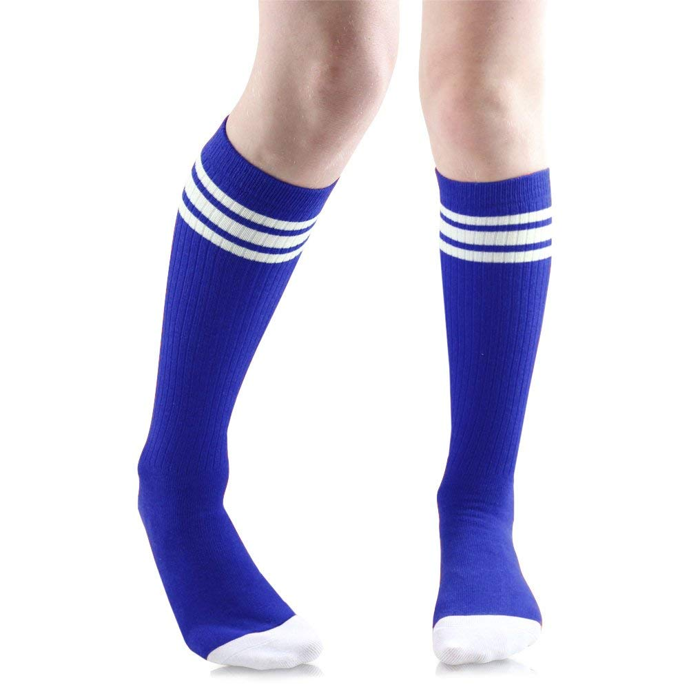 Baby, Toddler & Kids Knee High Tube Socks For Boys & Girls With Grips (2-4 Years (Shoe Size 6C-9C), Blue/White)
