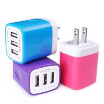 Wall Charger, USB Charger Adapter, Ailkin 3.1A/3Pack Muti Port Fast Charging Cube Power Charge Base Block Plug Replacement for Phone X/8/7 Plus, Samsung Note9/S9/S8/S7, Kindle Fire and More USB Plug