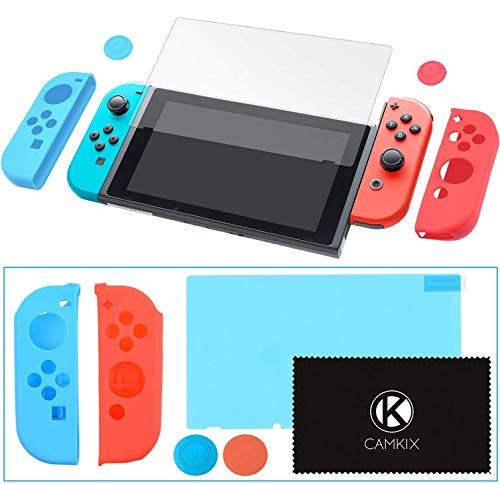 CamKix Grip and Protection Kit Compatible with Nintendo Switch: Joy Con Covers, Thumb Grip Covers, Screen Protector, Cleaning Cloth - Extra Grip and Protection, Matching Color