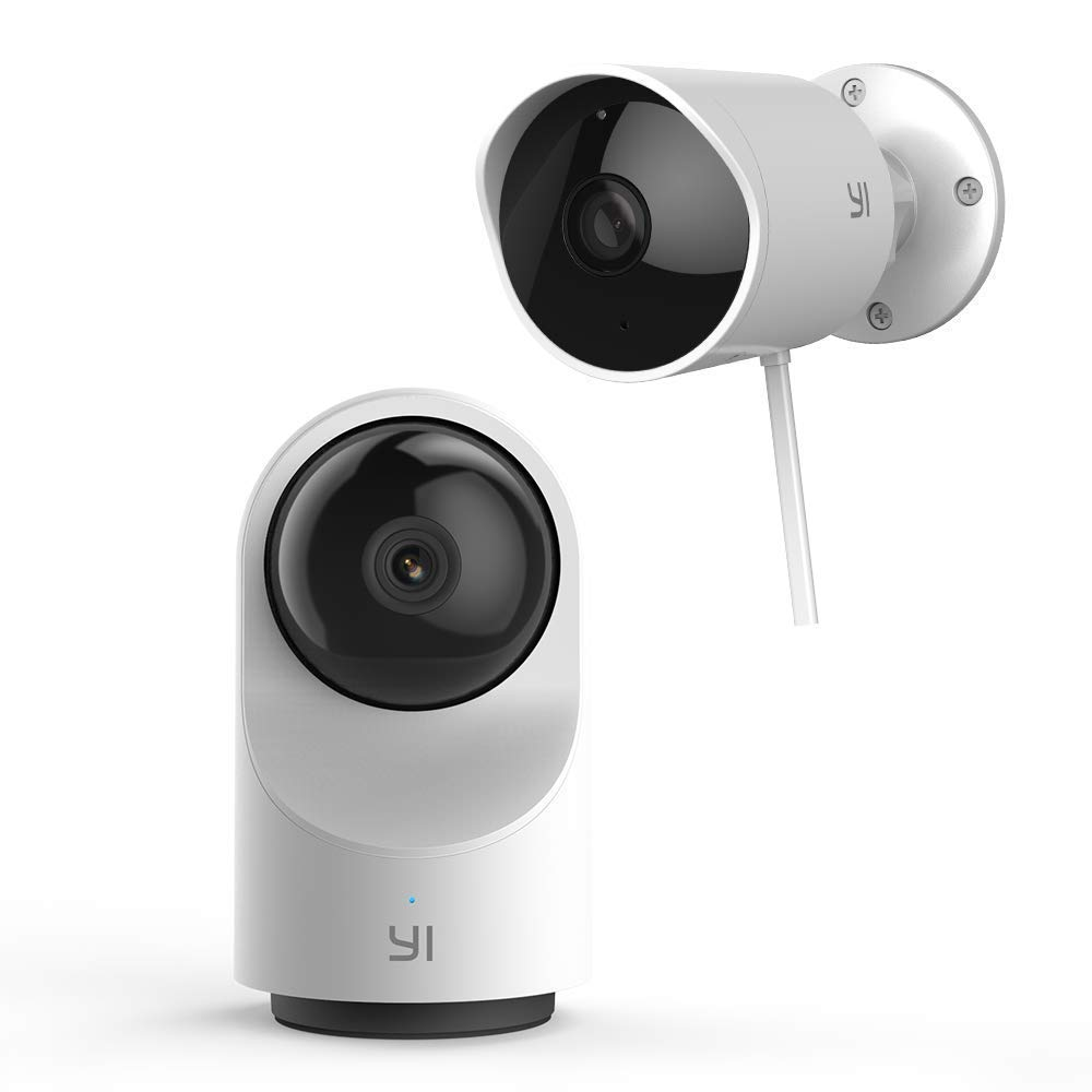YI 1080P Indoor/Outdoor Security Camera Bundle Set, 2.4G WiFi Home Surveillance System with 24/7 Emergency Response, App/Cloud Service Available - Dome Camera X and Outdoor Security Camera