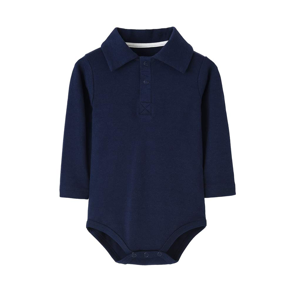 Teach Leanbh Infant Baby Polo Bodysuit Cotton Long Sleeve Pure Color Shirt 3-24 Months (3 Months, Navy)
