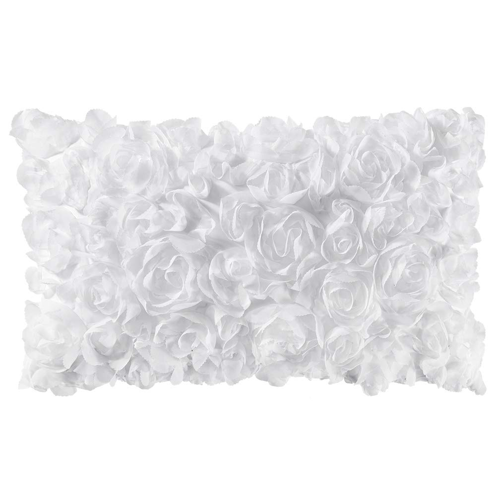 MIULEE 3D Decorative Romantic Stereo Chiffon Rose Flower Pillow Cover Solid Square Pillowcase for Sofa Bedroom Car 12x20 Inch 30x50 cm White