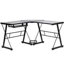 BestMassage L Shaped Desk Office Computer Glass Corner Desk with Keyboard Tray