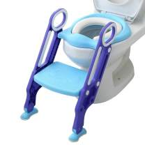 Potty Training Seat with Step Stool Ladder and Handles for Baby Toddler Kid Children Boys and Girls Toilet Training Chair with Padded Soft Cushion and Non-Slip Wide Step (Blue Purple)