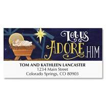 Adore Him Deluxe Christmas Address Labels - Set of 48, Large Self-Adhesive, Flat-Sheet Labels