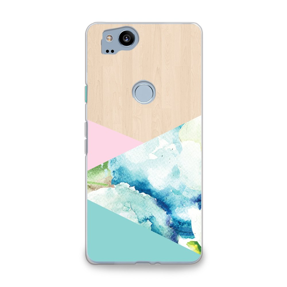 CasesByLorraine Google Pixel 2 Case, Wood Print Watercolor Pattern Case Flexible TPU Soft Gel Protective Phone Cover for Google Pixel 2 (2017) (S08)