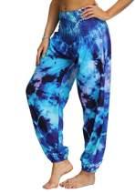 ENLACHIC Women Tie Dye Harem Loose Lounge Festival Boho Hippie Yoga Pants