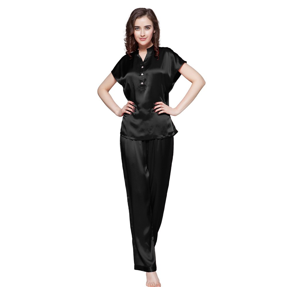 LilySilk Mulberry Silk Pajama Set for Women Short Sleeve Long Pant Womans Soft Silk Sleepwear 22 Momme Real Silk