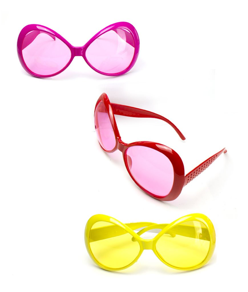 Fun Central 12 Pieces - Jumbo Glamorous Sunglasses in Bulk for Kids' & Adults' Party Accessory - Assorted Colors