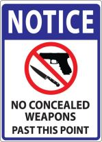 ZING 1811D Concealed Carry Window Decal, Notice No Concealed Weapons, 7Hx5W, Recycled Polystyrene Face-Adhesive, 2/Pk