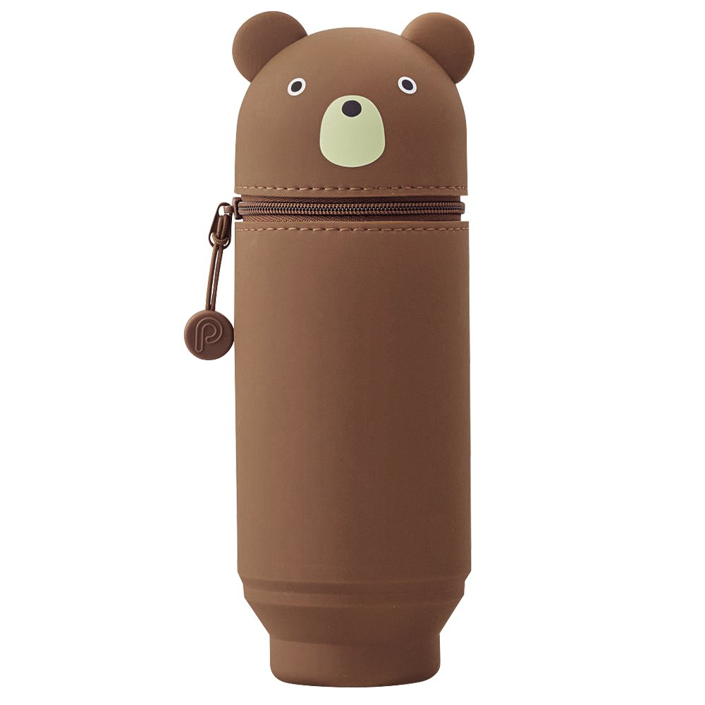 "LIHIT LAB. PuniLabo Stand Up Pen Case (Pen Holder), Bear, Large, 2.9"" x 8.3"" (A7714-1)"