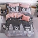 KFZ Bed Set Duvet Cover Set Lovely Cat Design Bedding Set (Twin Set Size) [4 Piece: Duvet Cover, Flat Sheet, 2 Pillow Cases] No Comforter [Softest Microfiber] Sheets Set for Kids Adults Teens