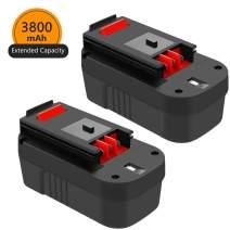 18 Volt 3.8Ah HPB18 Replacement for Black and Decker 18V Battery Ni-Mh HPB18-OPE 244760-00 A1718 FS180BX FS18BX FS18FL FSB18 Firestorm Batteries 2 Packs