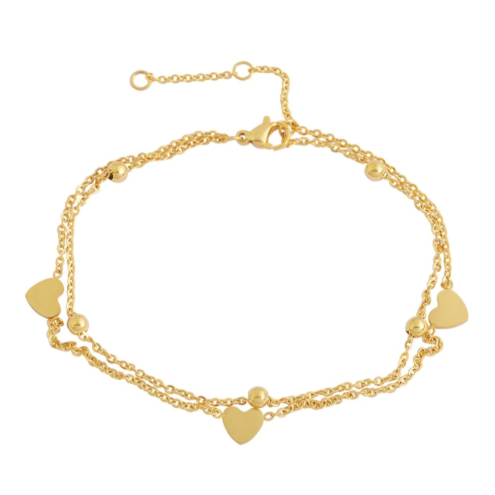 """Edforce Stainless Steel 3 Heart Double Chain 5 Balls Charms Anklet Bracelet Foot Jewelry, 8.5""""+2"""" Extender"""