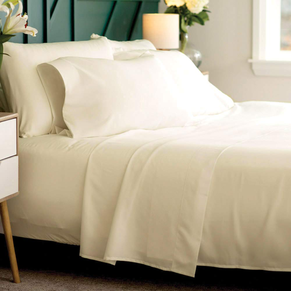 Bamboo Soft - Eco Friendly, Wrinkle Resistant Bamboo Fiber – Hypoallergenic and Breathable Viscose from Bamboo Blend 4pc Sheet Set (Ivory, King)