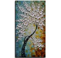 YaSheng Art -100% hand-painted Contemporary Art Oil Painting On Canvas Texture Palette Knife Landscape Paintings Modern Home Interior Decor Abstract Art 3D Flowers Paintings Ready to hang 24x48inch