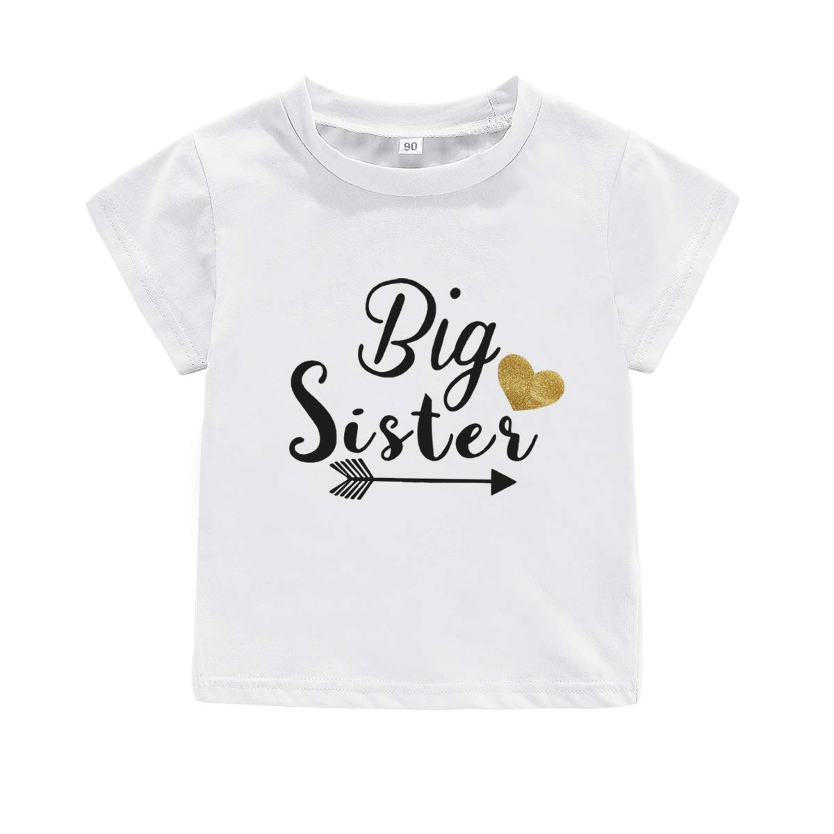 Little Baby Girls Clothes Promoted to Big Sister Print T Shirt Tops, Big Sister Tees as Gift (Style 2 - Big Sister (White), 120/for 3-4 Years)