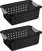 Sterilite Ultra 16249006 Medium Black Basket, 2-Pack