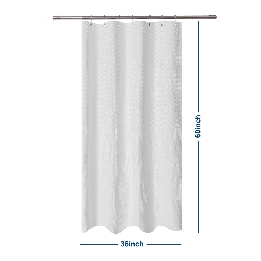 Barossa Design Small Short Shower Curtain Waffle Weave 36 x 60 Inches - 230GSM Heavy Fabric, Water Repellent, Washable, White, 36x60