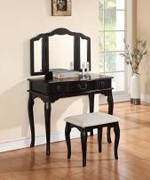 Poundex Bobkona Susana Tri-fold Mirror Vanity Table with Stool Set, Black