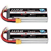 HRB 2Packs 4S 14.8V 1800mAh LiPo Battery 50C XT60 Plug for RC Drone Racing Car Boat Heli