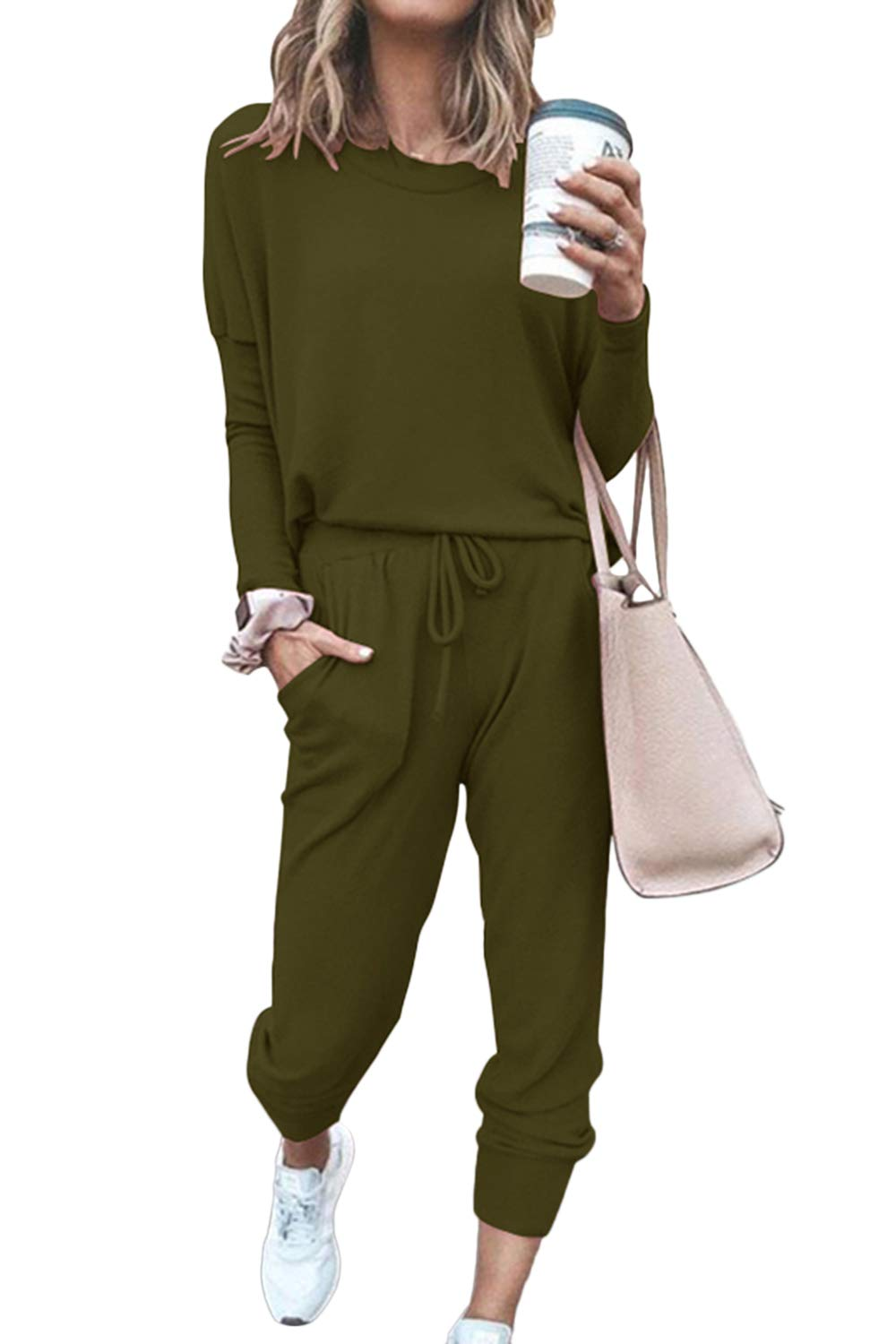 HAPCOPE Women's 2pcs Outfits Long Sleeve Active Tracksuits Jogger Pants Sports Set