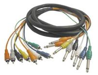 Hosa CPR-803 1/4 in TS to RCA Unbalanced Snake, 9.8 feet