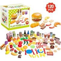Yidarton 120 Pieces Pretend Play Food Set Tasty Treats Gift for Girls Boys