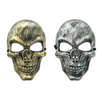Junyulim Skull Mask Cosplay Mask Airsoft Mask for Masquerade Party Bar Cosplay Halloween 1 Pcs Copper&1 Pcs Sliver