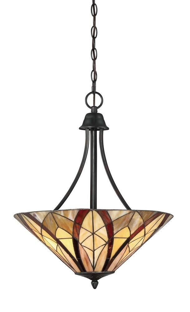 "Quoizel TFVY2819VA Victory Tiffany Pendant Ceiling Lighting, 3-Light, 300 Watts, Valiant Bronze (24""H x 19""W)"