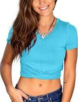 Women's Summer Crop T-Shirt V-Neck Short Sleeve Juniors Tops Teal Blue XL