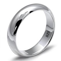 MetJakt Simple Classic Couple Rings Solid 925 Sterling Silver Glossy Love Ring for Women and Men Wedding Jewelry