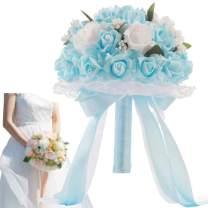 Zaptex Wedding Bridal Bridesmaid Bouquet Bridal Holding Toss Rose Flower Bouquet Decor (D, Sky Blue)