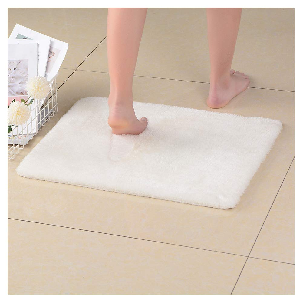 NICE LIFE Recycled Bathroom Mat Microfiber Shower Mats for Bathroom, White Bathroom Rugs 17x24 Inches, Non-Slip Machine Washable, Soft Plush Carpet for Bathroom, Tub, Shower, White