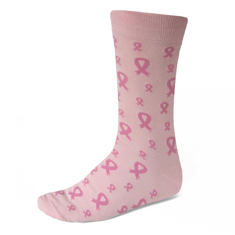 TieMart Pink Ribbon Breast Cancer Awareness Socks in Pink