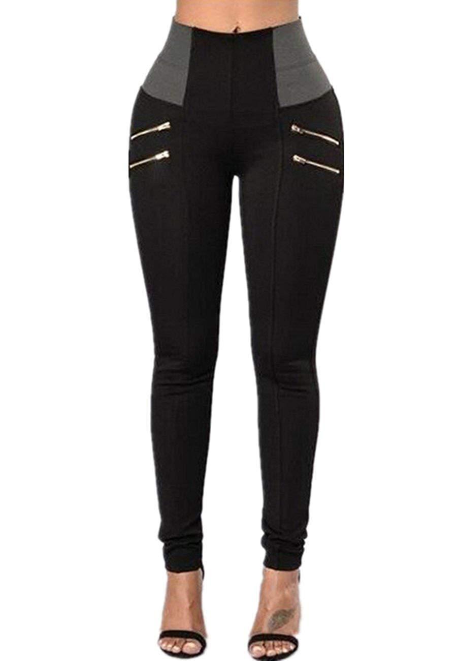Pxmoda Womens High Waist Patchwork Zip Pencil Jeans Stretch Skinny Pants