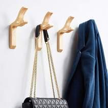 YANGQIHOME 4pcs Wooden Coat Hooks Wall Mounted Hook for Hanging Coats Hats Single Wall Organizer Natural Oak Wood Simple Modern Style Hook