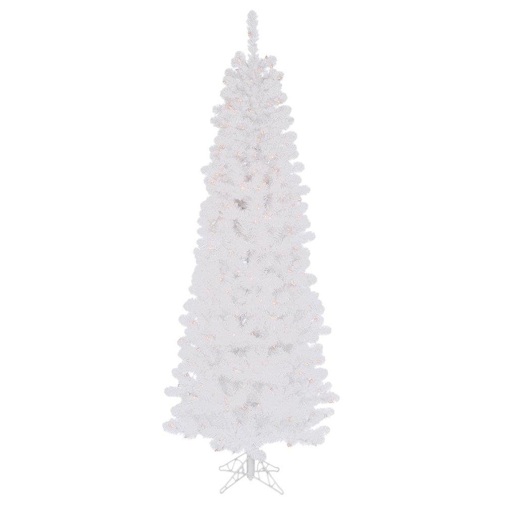 Vickerman 95' White Salem Pencil Pine Artificial Christmas Tree with 600 Warm White LED lights