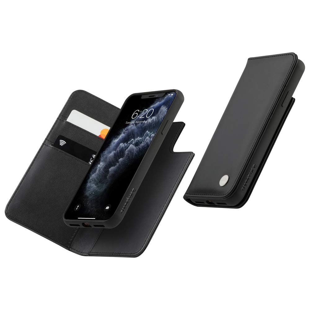Moshi Overture for iPhone 11 Pro Max Case 6.5-inch, Detachable Magnetic Wallet, Vegan Leather, Wallet Phone Cover for iPhone 11 Pro Max, Jet Black